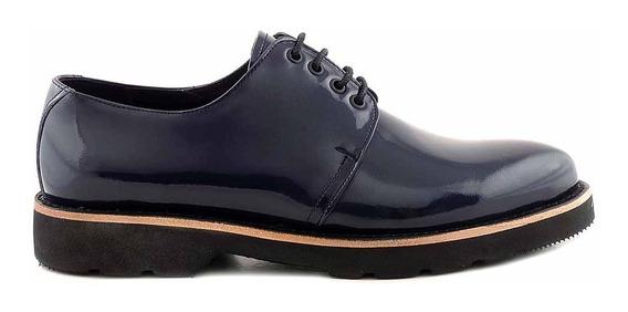Zapato Acordonado Cuero Briganti Mujer Base Goma - Mccz03482