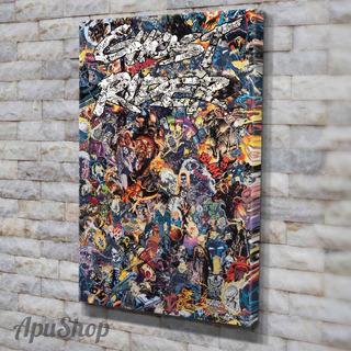 Cuadros Lienzo 60x40 Collage Comics Marvel Dc Manga Varios