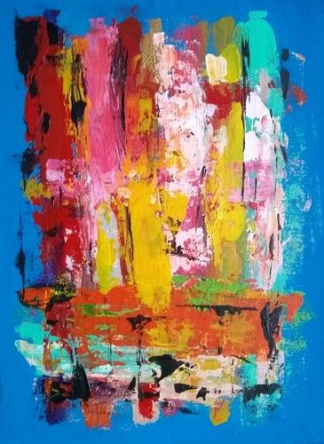 Cuadro Pintura Abstracto Acrílicos Sobre Tela Y Bastidor