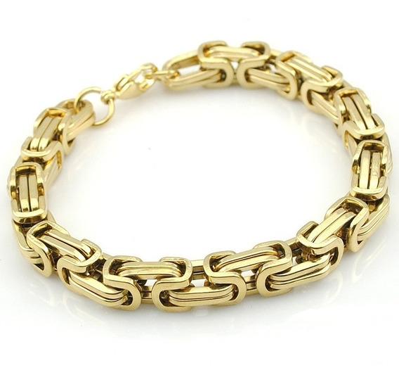 Pulseira Masculina Dourada Folheado Ouro 18k 8 Mm Grossa C617