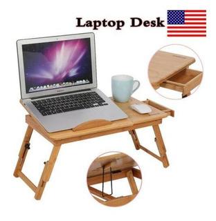 Bambú Del Ordenador Portátil Escritorio Mesa Desayuno C-4300
