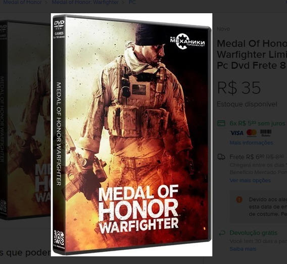 Medal Of Honor Airborne + Warfighter Frete 8 Reais Pc Dvd