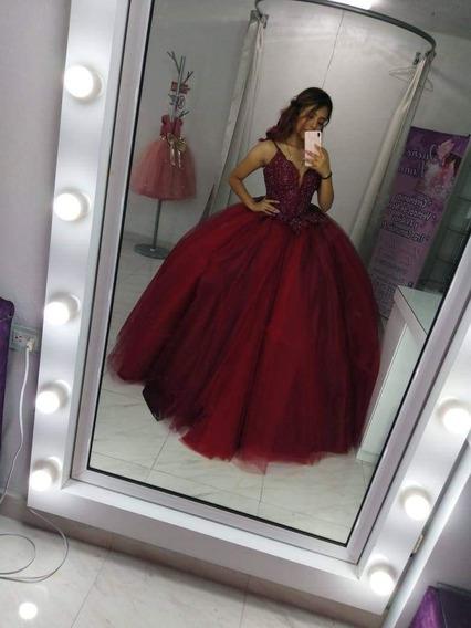 Hermoso Vestido De 15 Años Color Vino Con Rojo