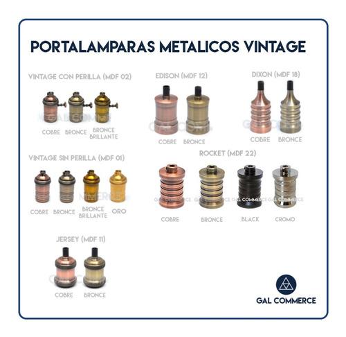 Imagen 1 de 7 de 4 Portalamparas Vintage Metalico Retro Bronce Elección En Stock!
