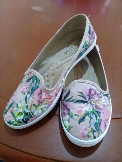 Sapatilha Feminina Moleca Beirario Confort Floral Redondo 35