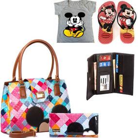 Kit Disney Bolsa Carteira Chinelo Camiseta Mickey + Bolsa