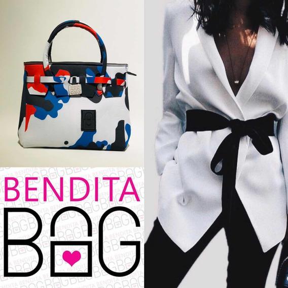 Cartera Bendita Bag L Camuflado Rojo Azul Y Negro