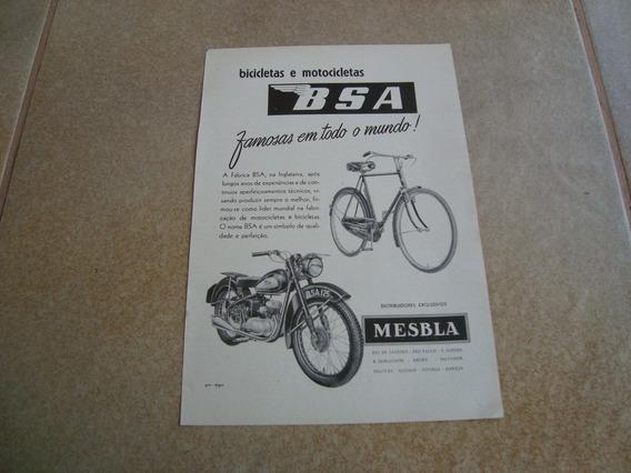 Propaganda Antiga Bicicleta Bsa 1954 Moto Mesbla 1