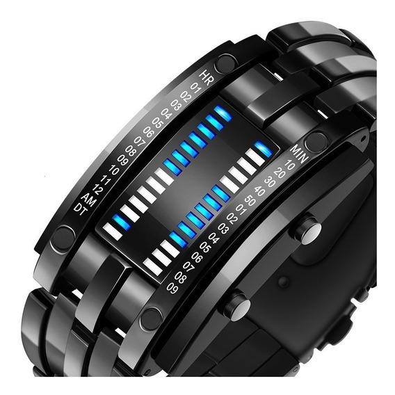 Reloj Led Metalico De Moda Barras Binario Estilo Futurista