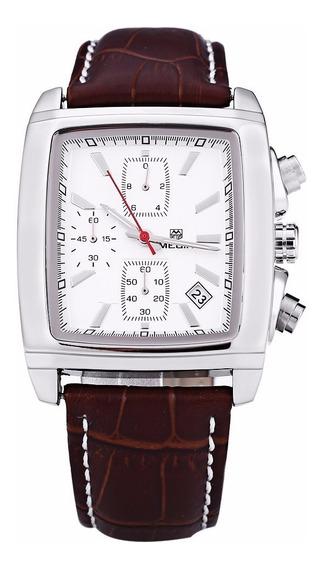Relógio Megir 2028 Elegante Retrô Cronógrafo Pronta Entrega