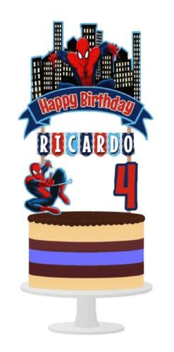 Imagen 1 de 6 de Cake Topper Spiderman Adorno Para Tortas Personalizado