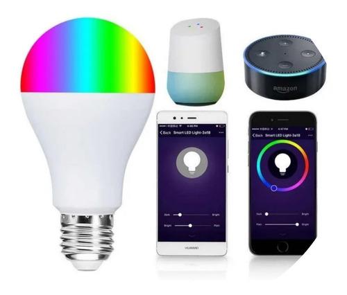 Lámpara Led Rgb Wifi Bombilla 11w Alexa Google Inicio