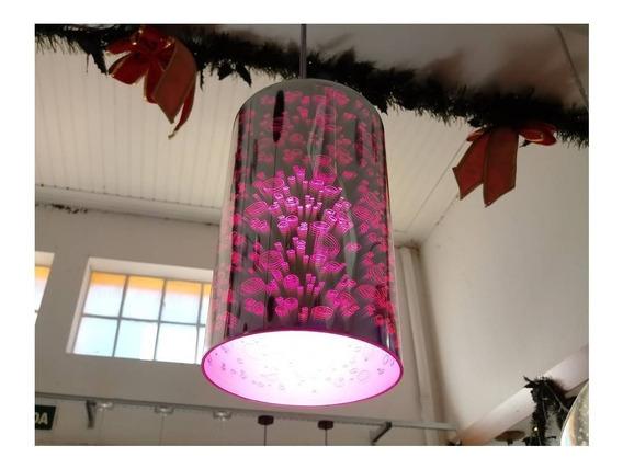 Luminaria Efeito 3d, Pendente, Banheiro Quarto,rosa, Bancada