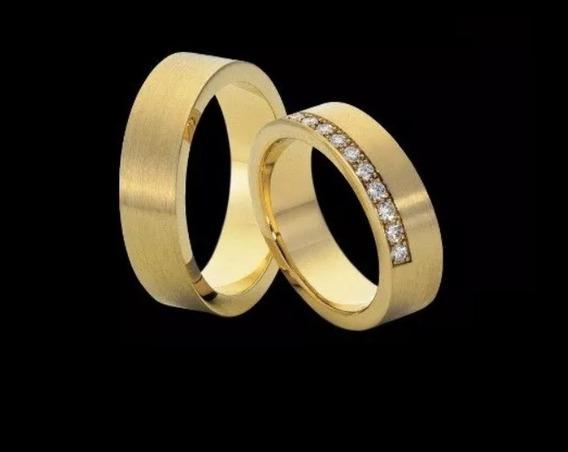 Alianças De Casamento De Ouro 18k Namorados + Diamantes Al30