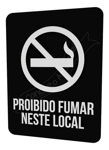 Imagem 1 de 2 de Placa Indicativa Preta Proibido Fumar Neste Local Bar Lounge