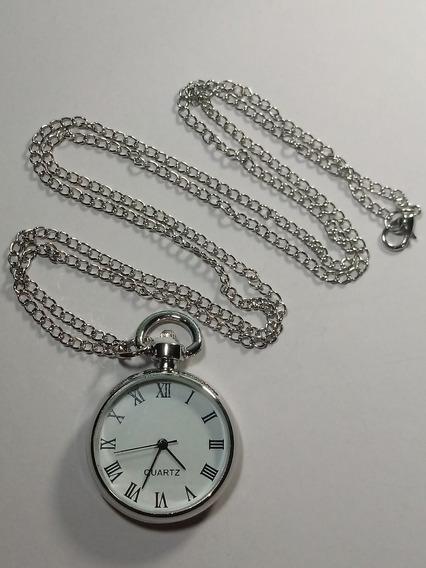 Relógio De Bolso Médio Branco Quartz