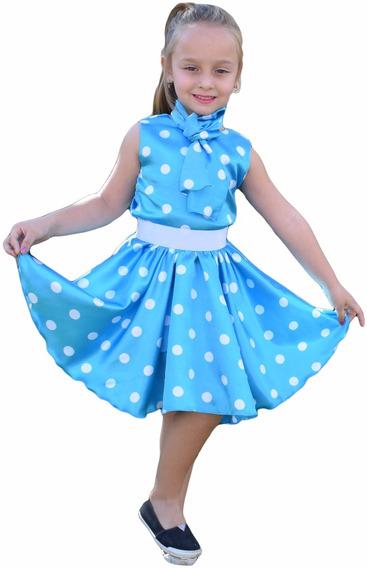 Vestido Infantil Festa Fantasia Anos 60 Azul +cinto +lenço