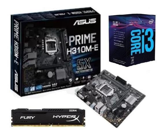 Kit Intel 8ª Geração I3 8100 + 8gb Ddr4 + H310m-e Asus C/nfe