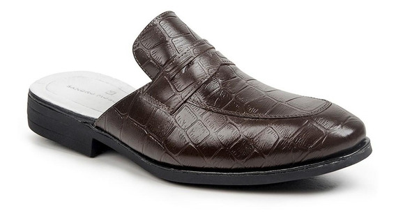 Sapato Mule Masculino Em Couro Solado Borracha Reforçado