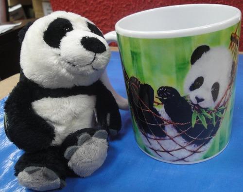 Imagem 1 de 10 de Caneca De Porcelana 330ml + Ursinho Panda Imagem Rede Bambu
