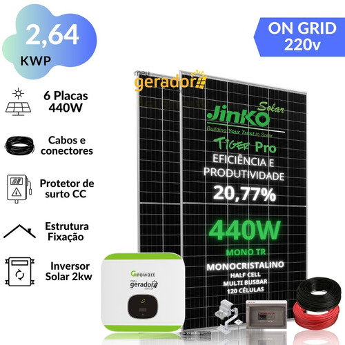 Kit Energia Solar 350kwh Mês 2,64kwp 6 Placas Inversor 2kw