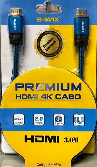 Cabo Hdmi Premium 3 Metros Versão 2.0 3d 4k Bm8679