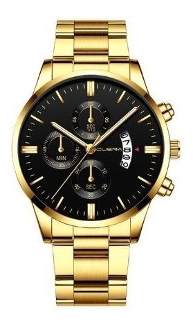 Relógio Casual Masculino Cuena Quartz Dourado