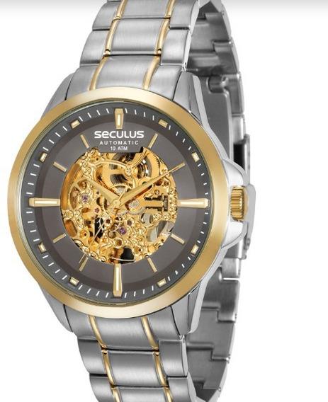 Relógio De Pulso Seculus Masculino Automático Ouro Cromado