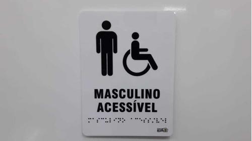 Placa Sinalização Banheiro Masculino Acessível Braille