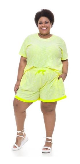 Shorts Plus Size Wonder Size Moletinho Amarelo Neon