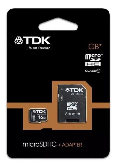 Cartão De Memoria 16gb Tdk Classe 4 Micro Kit Com 5