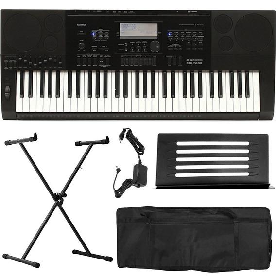 Kit Teclado Musical Profissional Casio Ctk7200 5 Oitavas 5/8