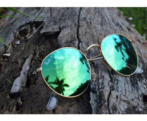 Óculos De Sol Redondo Espelhado Verde Round Envio Já