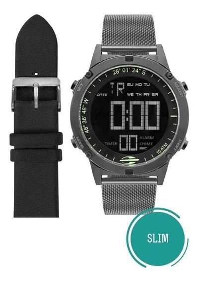 Kit Relógio Mormaii Masculino Slim Mow13901c/t4c Grafite