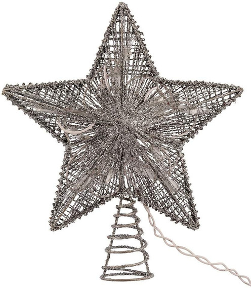 Estrella Plateada Kurt Adler Para Árbol De Navidad 10pulg