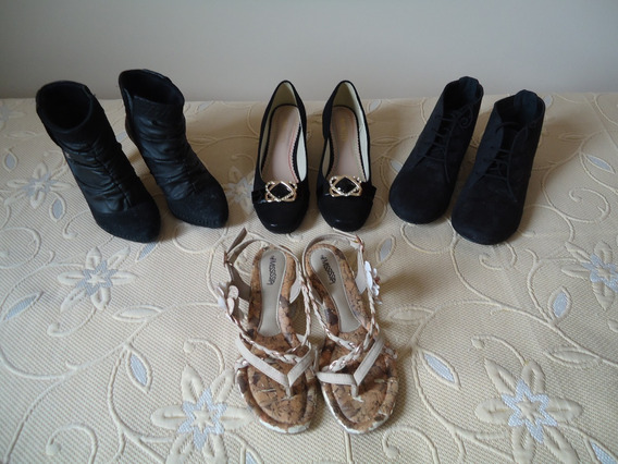 Lote 4 Calçados: 1 Sapato 2 Botas 1 Sandália Feminino Leia!!