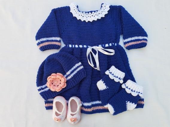 Vestido Crochê Em Lã Tamanho De 6 A 9 Mese Meses P/ Entrega!