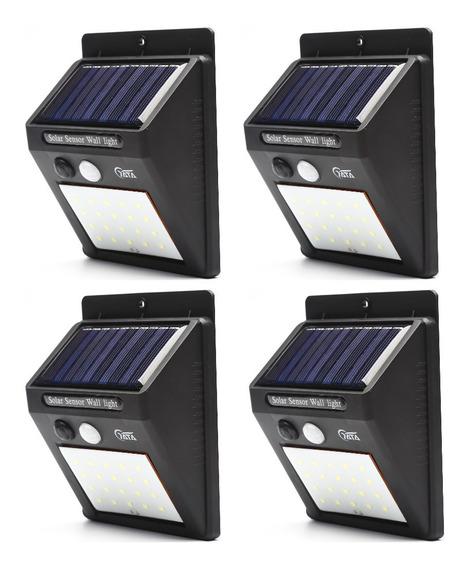 4 Luminária Parede Solar Led 20 Bateria Luz Balizador Jardim