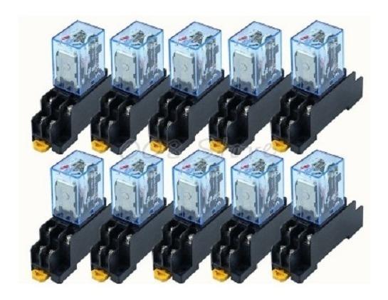 Rele 24v Dc 8 Pinos 2 No E 2 Vc 10 A 12 Unidades