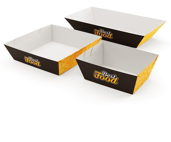 Embalagem Cestinha Food Truck Bandeja P M G (50 De Cada)