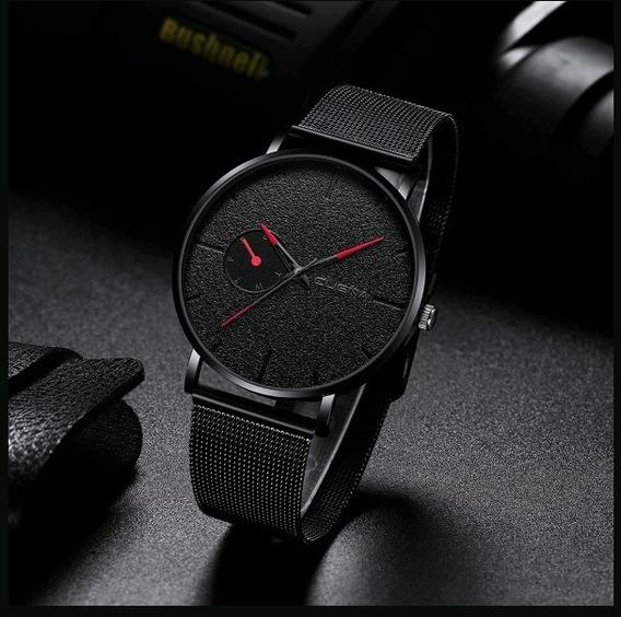 Relógio Masculino De Pulso Cuena Total Black Malha De Aço