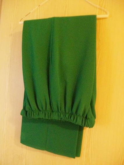Pantalón De Vestir Poliester Verde, Recto.