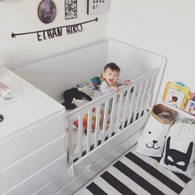 Berço C/ Cama Auxiliar E Cômoda Baby Mel Certificado Inmetro