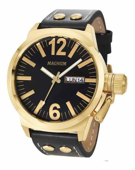 Relógio Magnum Masculino Military Dourado/preto Ma31524u +nf