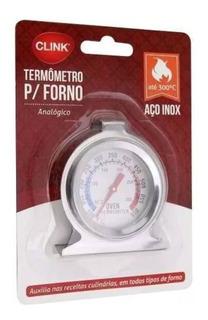 Termômetro Analógico Forno 300° Alta Qualidade Inox Com Base