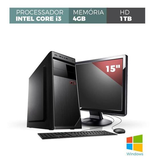 Computador Corporate I3 4gb 1tb Windows Kit Monitor 15