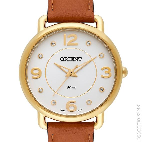 Relógio Orient Couro Feminino Dourado Fgsc0010 S2mx + Nota
