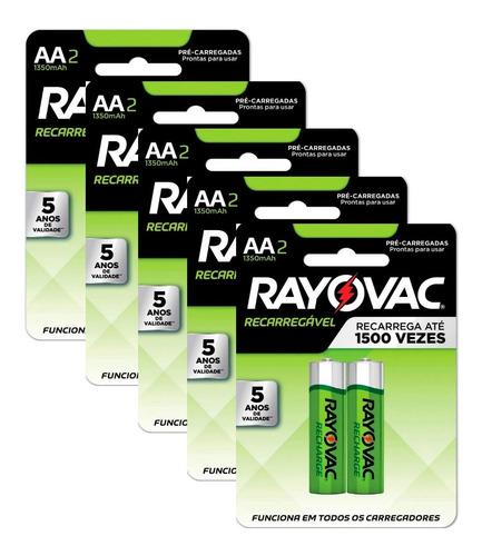 Pilha Recarregável Rayovac Aa 1350 Mah - 10 Pilhas