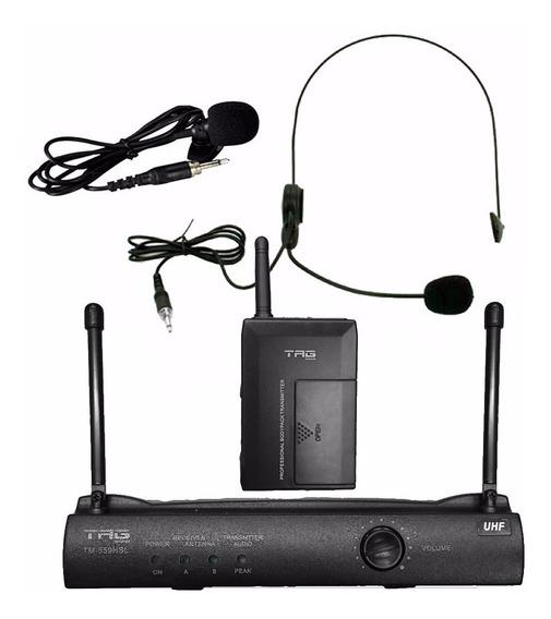Microfone S/fio Tagsound Tm559 Hsl Uhf Headset E Lapela