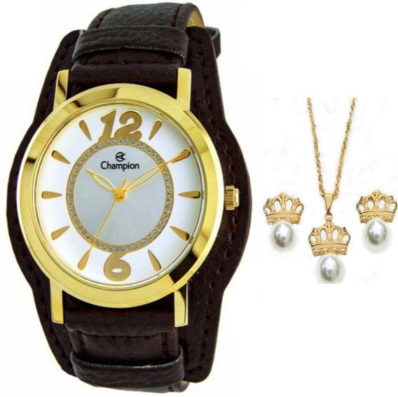 Relógio Champion Feminino Couro - Cn20284w + Kit